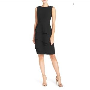 Ella Ruffle Cascade Crepe Sheath Dress B703 NWOT